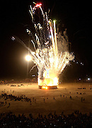 "The ""Man"" is ritually burned Saturday night in the culmination of the Burningman counter culture arts festival in the Black Rock Desert 100 miles north east of Reno, NV, Friday, Sept 3, 2004.(Photo Scott Sady/Reno, Gazette-Journal)."