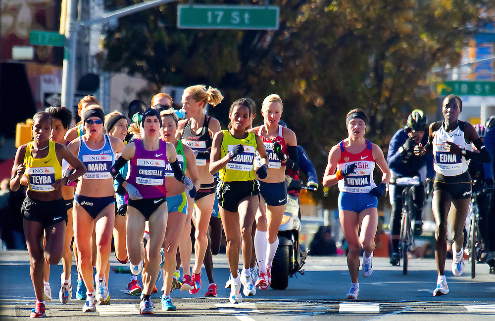 The women's lead pack at the New York City Marathon. At the six  mile mark. 2010