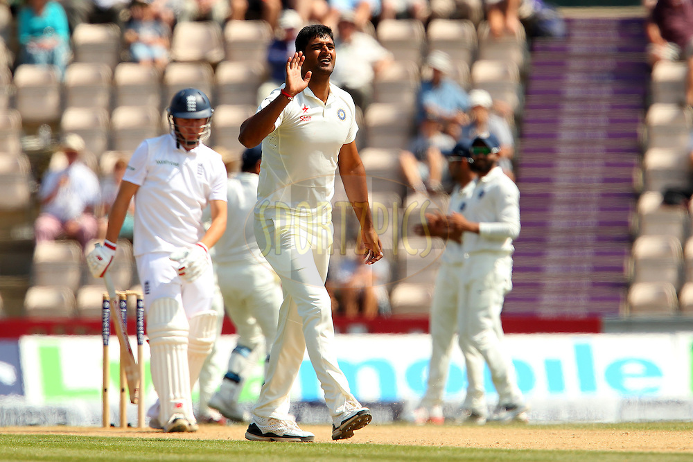 Pankaj Singh of India appeals for the wicket of  Gary Ballance of England during day four of the third Investec Test Match between England and India held at The Ageas Bowl cricket ground in Southampton, England on the 30th July 2014<br /> <br /> Photo by Ron Gaunt / SPORTZPICS/ BCCI