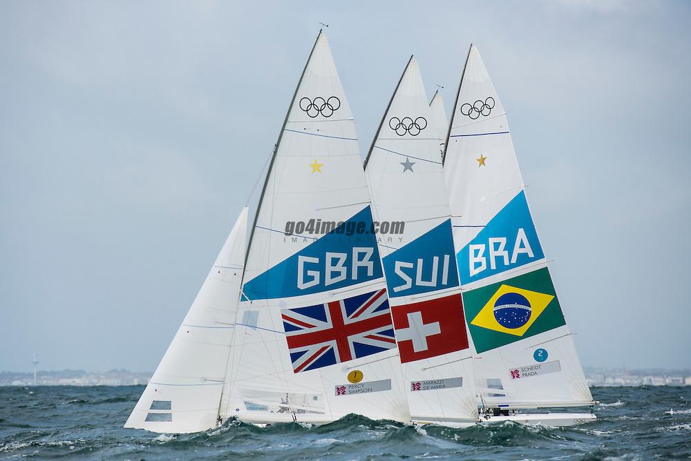 2012 Olympic Games London / Weymouth<br /> Percy Iain, Simpson Andrew, (GBR, Star)<br /> Marazzi Flavio, De Maria Enrico, (SUI, Star)<br /> Scheidt Robert, Prada Bruno, (BRA, Star)