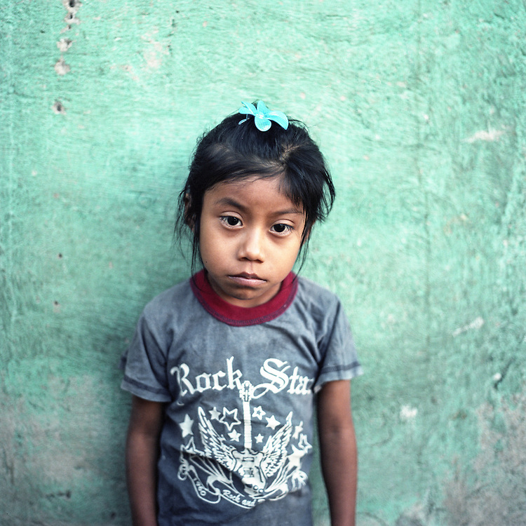 Isabela Tuc Chiroy, five years old in Canton Pawakal, Cerro de Oro. Isabel has ten siblings in total. Three are dead because of illness related to chronic malnutrition. Her mother is a single mother after the dad drank himself to death. Food is never enough.