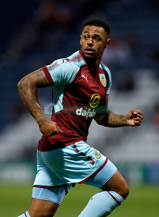 """Burnley's Andre Gray during the pre-season friendly match at Deepdale, Preston. PRESS ASSOCIATION Photo. Picture date: Tuesday July 25, 2017. See PA story SOCCER Preston. Photo credit should read: Martin Rickett/PA Wire. RESTRICTIONS: EDITORIAL USE ONLY No use with unauthorised audio, video, data, fixture lists, club/league logos or """"live"""" services. Online in-match use limited to 75 images, no video emulation. No use in betting, games or single club/league/player publications."""