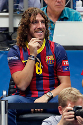 31.05.2014, Lanxess Arena, Koeln, GER, EHF CL, FC Barcelona vs SG Flensburg Handewitt, Halbfinale, im Bild Carles Puyol (FC Barcelona), gut gelaunt am Lachen<br /> <br /> FC Barcelona vs SG Flensburg-Handewitt --- Handball --- EHF Final 4 --- 31.05.2014<br /> Foto: Eibner // during the EHF Champions League semifinal match between FC Barcelona and SG Flensburg Handewitt at the Lanxess Arena in Koeln, Germany on 2014/05/31. EXPA Pictures © 2014, PhotoCredit: EXPA/ Eibner-Pressefoto/ Schueler<br /> <br /> *****ATTENTION - OUT of GER*****