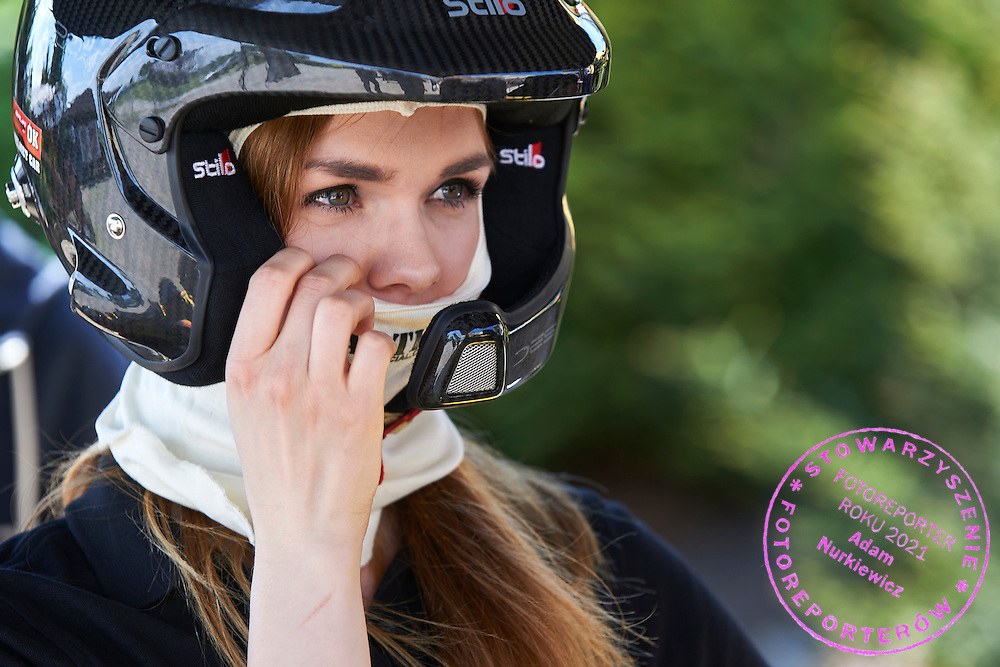 Journalist prepares before run on car rally cross RX Lites during training session on rally cross track on May 19, 2015 in Slomczyn, Poland<br /> <br /> Poland, Slomczyn, May 19, 2015<br /> <br /> Picture also available in RAW (NEF) or TIFF format on special request.<br /> <br /> For editorial use only. Any commercial or promotional use requires permission.<br /> <br /> Adam Nurkiewicz declares that he has no rights to the image of people at the photographs of his authorship.<br /> <br /> Mandatory credit:<br /> Photo by &copy; Adam Nurkiewicz / Mediasport