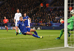 Islam Slimani of Leicester City goal is disallowed for offside. - Mandatory by-line: Alex James/JMP - 10/01/2014 - FOOTBALL - King Power Stadium - Leicester, England - Leicester City v FC Copenhagen - UEFA Champions League