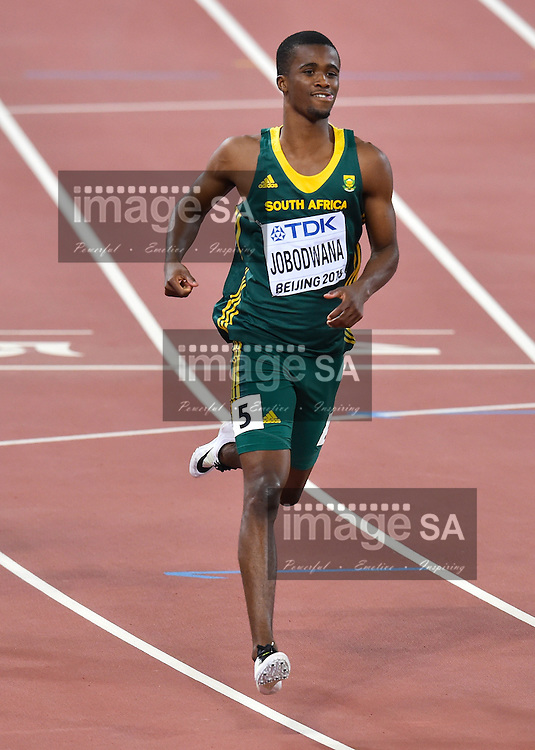 BEIJING, CHINA - AUGUST 25: a smiling Anaso Jobodwana of South Africa in the heats of the mens 200m during day 4 of the 2015 IAAF World Championships at National Stadium on August 25, 2015 in Beijing, China. (Photo by Roger Sedres/Gallo Images)