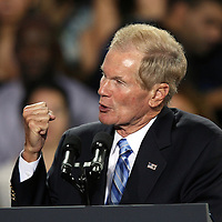 Florida Senator Bill Nelson warms up the crowd prior to President Barack Obama speaking, during his Grassroots event at the Kissimmee Civic Center in Kissimmee, Florida on Saturday, September 8, 2012. (AP Photo/Alex Menendez)