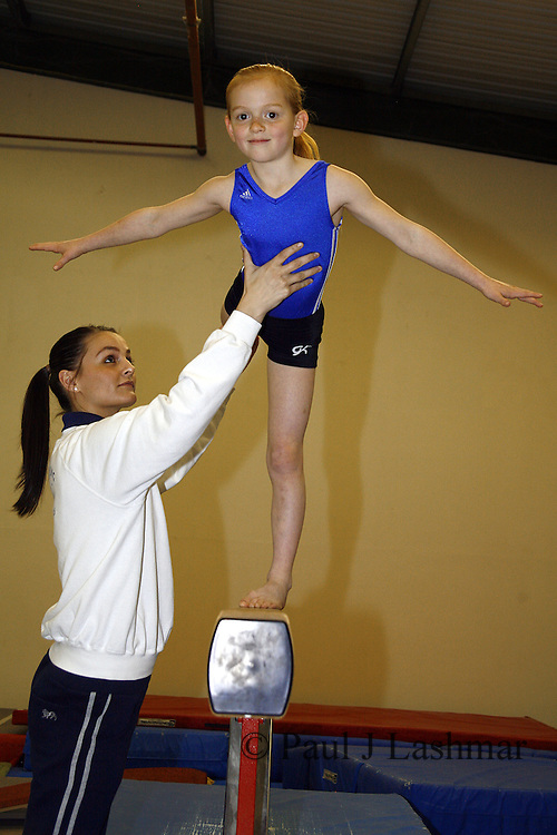 Kettering Olympic Gymnastic member, Zoe Parker, 8, who has won a chance to train with Daniel Keating working with coach, Lauren Hunter.