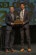 KELOWNA, CANADA - MARCH 19:  Unsung Hero Award presented to Devante Stephens by Andrew Ingenhorst at the Kelowna Rockets Awards Ceremony on March 19, 2017 at the Kelowna Community Theater in Kelowna, British Columbia, Canada.  (Photo By Cindy Rogers/Nyasa Photography,  *** Local Caption ***
