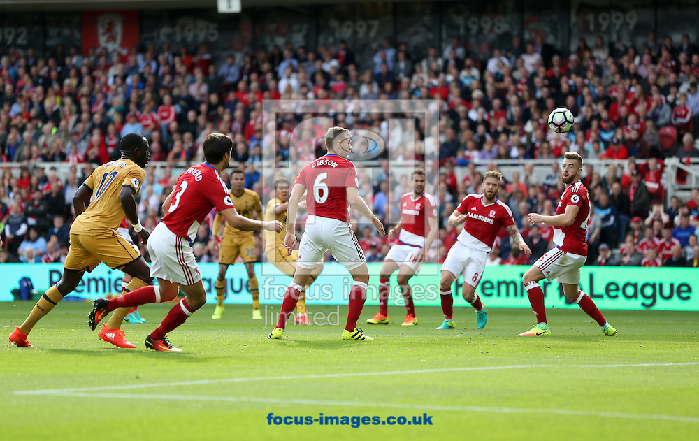 Son Heung-min of Tottenham Hotspur scores his second goal of the game putting his team 2-0 up during the Premier League match at the Riverside Stadium, Middlesbrough<br /> Picture by Christopher Booth/Focus Images Ltd 07711958291<br /> 24/09/2016