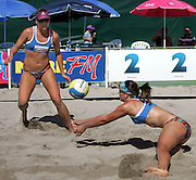 Bec Shaw and Eileen Romanowski (Aust) in action during the NZ Beach Volleyball Open at Stanley St, Auckland, 20 January 2006. Photo: Tim Hales/PHOTOSPORT<br />