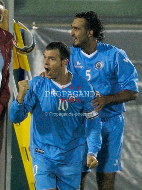 San Marino, San Marino - Wednesday, October 17, 2007: San Marino's captain Andy Selva celebrates scoring against Wales during the Group D UEFA Euro 2008 Qualifying match at the Serravalle Stadium. (Photo by David Rawcliffe/Propaganda)