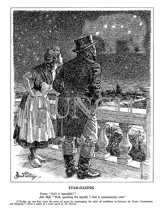 """Star-Gazing. France. """"Isn't it beautiful?"""" John Bull. """"Well, speaking for myself, I find it uncommonly cold."""" M. Blum.]"""