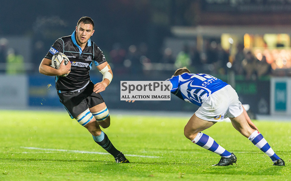 Adam Ashe in action during the Guinness Pro 12 match between Glasgow Warriors and Newport Dragons (c) ROSS EAGLESHAM | Sportpix.co.uk
