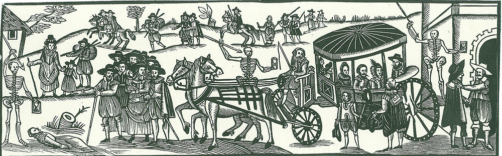 Townspeople escaping to the countryside to avoid and outbreak of Plague.  Mid-17th century English woodcut.