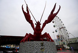 April 13, 2018 - Yichang, Yichang, China - Yichang, CHINA-13th April 2018: A 5-meter-tall lobster sculpture can be seen on street in Yichang, central China's Hubei Province. (Credit Image: © SIPA Asia via ZUMA Wire)
