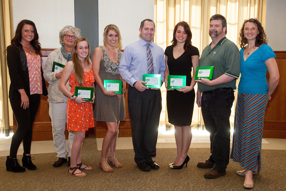 Award recipients at the inaugural Earth Day awards ceremony sponsored by Ohio University's Office of Sustainability.  Photo by Ohio University / Jonathan Adams