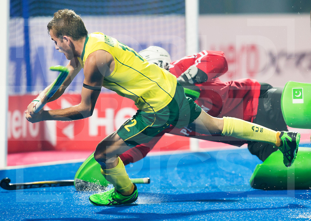 BHUBANESWAR  (INDIA) -   Austalia vs Pakistan on day 3 of the Hero Champions Trophy Hockey.   Jacob Whetton of Australia stopped by Imran Butt of Pakistan. Photo KOEN SUYK