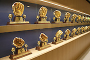 LOS ANGELES, CA - MAY 12:  A display shows some of the many Gold Glove Awards won by Los Angeles Dodgers players prior to the game against the Miami Marlins on Sunday, May 12, 2013 at Dodger Stadium in Los Angeles, California. The Dodgers won the game 5-3. (Photo by Paul Spinelli/MLB Photos via Getty Images)