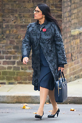 Downing Street, London, October 27th 2015.  Priti Patel - Employment Minister, arrives at 10 Downing Street to attend the weekly cabinet meeting. /// Licencing: Paul Davey tel: 07966016296 or 02089696875 paul@pauldaveycreative.co.uk www.pauldaveycreative.co.uk