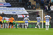 Queens Park Rangers player Eberechi Eze (10) scores penalty goal to go 2-1 during the EFL Sky Bet Championship match between Hull City and Queens Park Rangers at the KCOM Stadium, Kingston upon Hull, England on 19 October 2019.