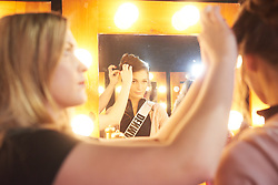 December 8, 2019, Atlanta, Georgia, USA: Katja Stokholm, Miss Denmark 2019 gets hair done by a stylist from Farouk Systems, the Makers of CHI & Biosilk backstage during The Miss Universe Competition telecast, held at Tyler Perry Studios. Contestants from around the globe have spent the last few weeks touring, filming, rehearsing and preparing to compete for the Miss Universe crown. (Credit Image: © Benjamin Askinas/Miss Universe Organization via ZUMA Wire)