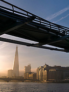 London, England - April 03, 2017: Sunrise over The Shard Building and River Thames, London.
