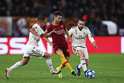 November 27, 2018 - Rome, Italy - AS Roma v FC Real Madrid : UEFA Champions League Group G.Stephan El Shaarawy of Roma in action between Lucas Vazquez of Real Madrid and Dani Carvajal of Real Madrid at Olimpico Stadium in Rome, Italy on November 27, 2018. (Credit Image: © Matteo Ciambelli/NurPhoto via ZUMA Press)