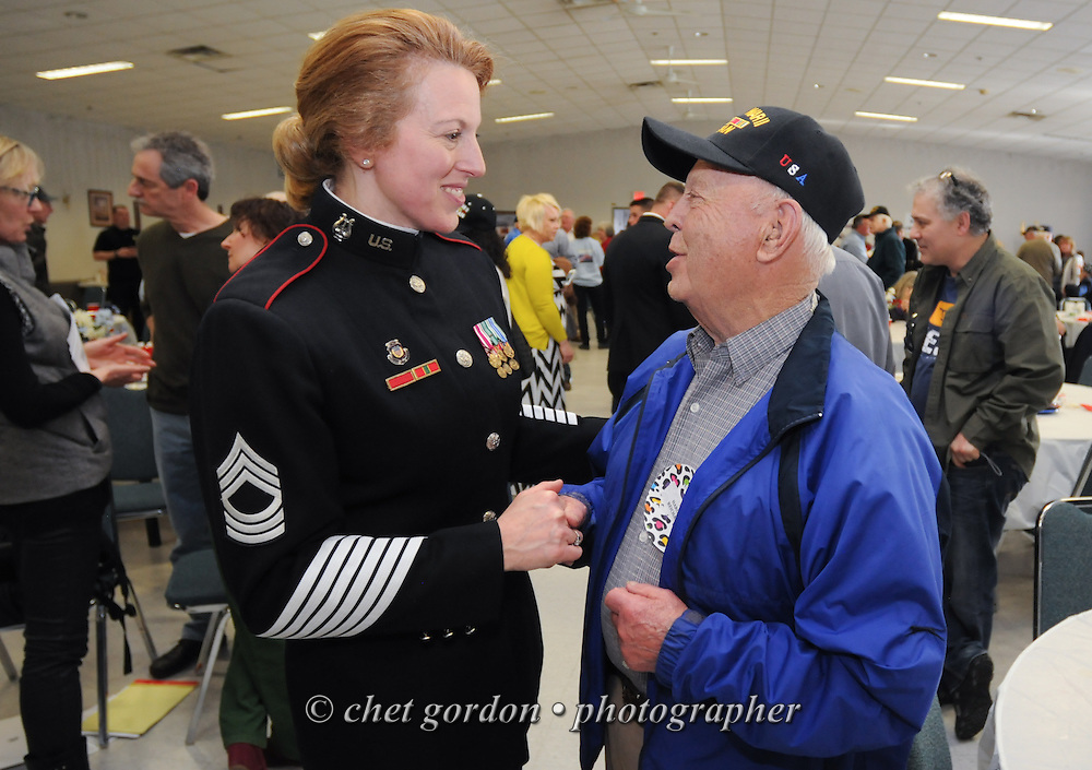 "Hudson Valley Honor Flight ""Meet and Greet"" at the Walden Firehouse in Walden, NY on Sunday, April 6, 2014. One Hundred WWII Veterans and their escorts will be onboard the Hudson Valley Honor Flight's fourth flight from Stewart International Airport to Washington, DC on April 26th.  © Chet Gordon for HVHF"