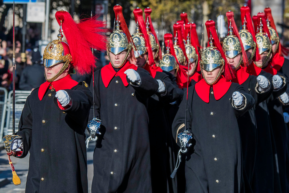 Blues and Royals leave the Cenotaph - Remembrance Sunday and Armistice Day commemorations fall on the same day, remembering the fallen of all conflicts but particularly the centenary of the end of World War One.
