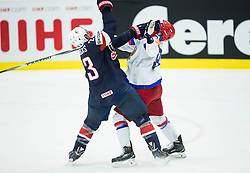 Matt Hendricks of USA vs Viktor Antipin of Russia during Ice Hockey match between Russia and USA at Day 4 in Group B of 2015 IIHF World Championship, on May 4, 2015 in CEZ Arena, Ostrava, Czech Republic. Photo by Vid Ponikvar / Sportida