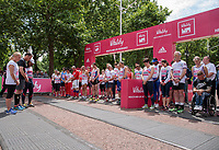 Lord Sebastian Coe leads The Olympians in a moment's silence on the start line ahead of their wave at The Vitality Westminster Mile, Sunday 28th May 2017.<br /> <br /> Photo: Neil Turner for The Vitality Westminster Mile<br /> <br /> For further information: media@londonmarathonevents.co.uk
