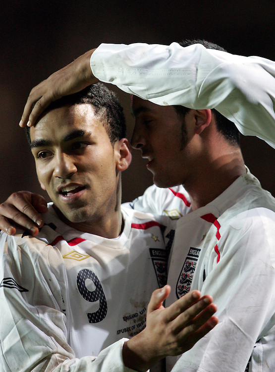 Theo Walcott celebrates after scoring with Aaron Lennon. England v Republic of Ireland, Uefa Under-21 Championship Qualifier, Tuesday 5th February 2008, St Marys, Southampton.