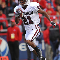 Oct 10, 2009; Piscataway, NJ, USA; Texas Southern running back Joseph Warren (21) returns a kickoff during first half NCAA college football action between Rutgers and Texas Southern at Rutgers Stadium.