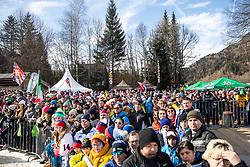 Fans celebrating at the Ladies' Slalom at 56th Golden Fox event at Audi FIS Ski World Cup 2019/20, on February 16, 2020 in Podkoren, Kranjska Gora, Slovenia. Photo by Matic Ritonja / Sportida