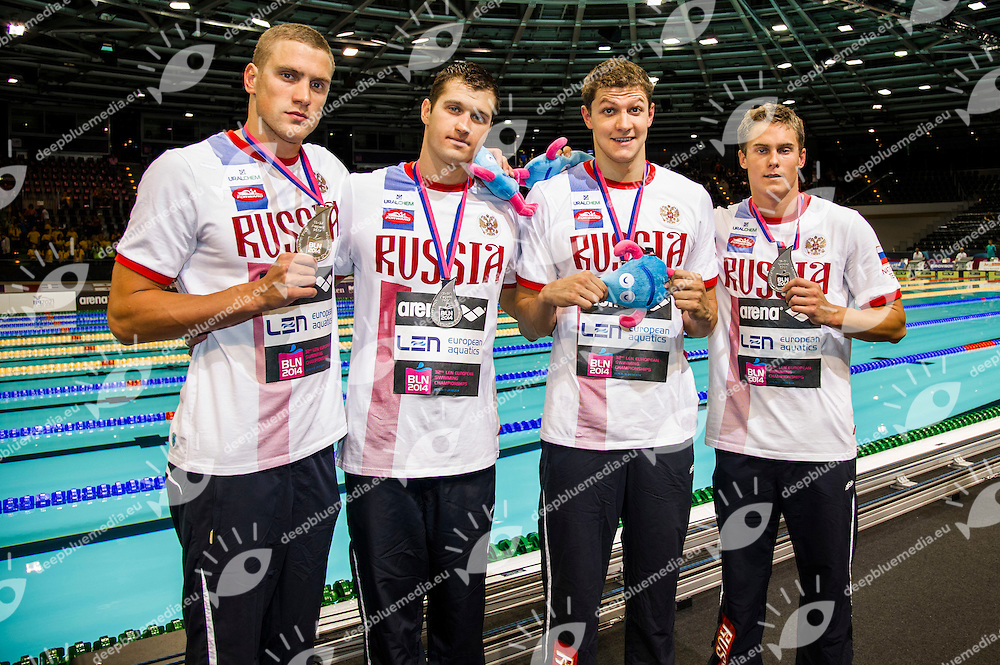 Russia Silver Medal<br /> 4x100m Freestyle Men Final<br /> 32nd LEN European Championships <br /> Berlin, Germany 2014  Aug.13 th - Aug. 24 th<br /> Day06 - Aug. 18<br /> Photo G. Scala/Deepbluemedia/Inside