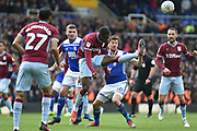Aston Villa defender (on loan from Wolverhampton Wanderers) Kortney Hause (30) clears his lines during the EFL Sky Bet Championship match between Birmingham City and Aston Villa at St Andrews, Birmingham, England on 10 March 2019.