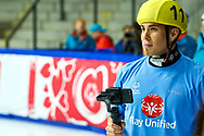 Graz, Austria - 2017 March 22: Apolo Ohno (Special Olympics Global Ambassador - a retired American short track speed skating competitor and an eight-time medalist in the Winter Olympics - two gold, two silver, four bronze) looks forward during Speed Skating Unified Sports Experiences while Special Olympics World Winter Games Austria 2017 at Icestadium Graz Liebenau on March 22, 2017 in Graz, Austria.<br /> <br /> Mandatory credit:<br /> Photo by © Adam Nurkiewicz / Mediasport<br /> <br /> Adam Nurkiewicz declares that he has no rights to the image of people at the photographs of his authorship.<br /> <br /> Picture also available in RAW (NEF) or TIFF format on special request.<br /> <br /> Any editorial, commercial or promotional use requires written permission from the author of image.<br /> <br /> Image can be used in the press when the method of use and the signature does not hurt people on the picture.