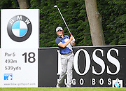 Eddie PEPPERELL teeing off on the 18th during the 4th day of the BMW PGA Championship at Wentworth, Virginia Water, United Kingdom on 24 May 2015. Photo by Ellie  Hoad.
