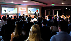 A general view as Kriss Akabusi gives a talk at The Bristol Sport Big Breakfast - Mandatory by-line: Robbie Stephenson/JMP - 29/07/2016 - FOOTBALL - Ashton Gate - Bristol, England - Bristol Sport Big Breakfast - Kriss Akabusi