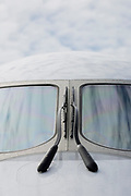 The nose and cockpit windshield of a Mitsubishi CRJ regional jet at the Farnborough Airshow, on 16th July 2018, in Farnborough, England. (Photo by Richard Baker / In Pictures via Getty Images)