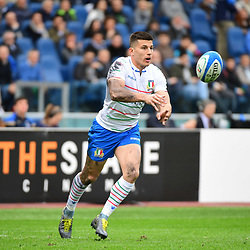 Tommaso Allan of Italy during the Guinness Six Nations match between Italy and France on March 16, 2019 in Rome, Italy. (Photo by Dave Winter/Icon Sport)