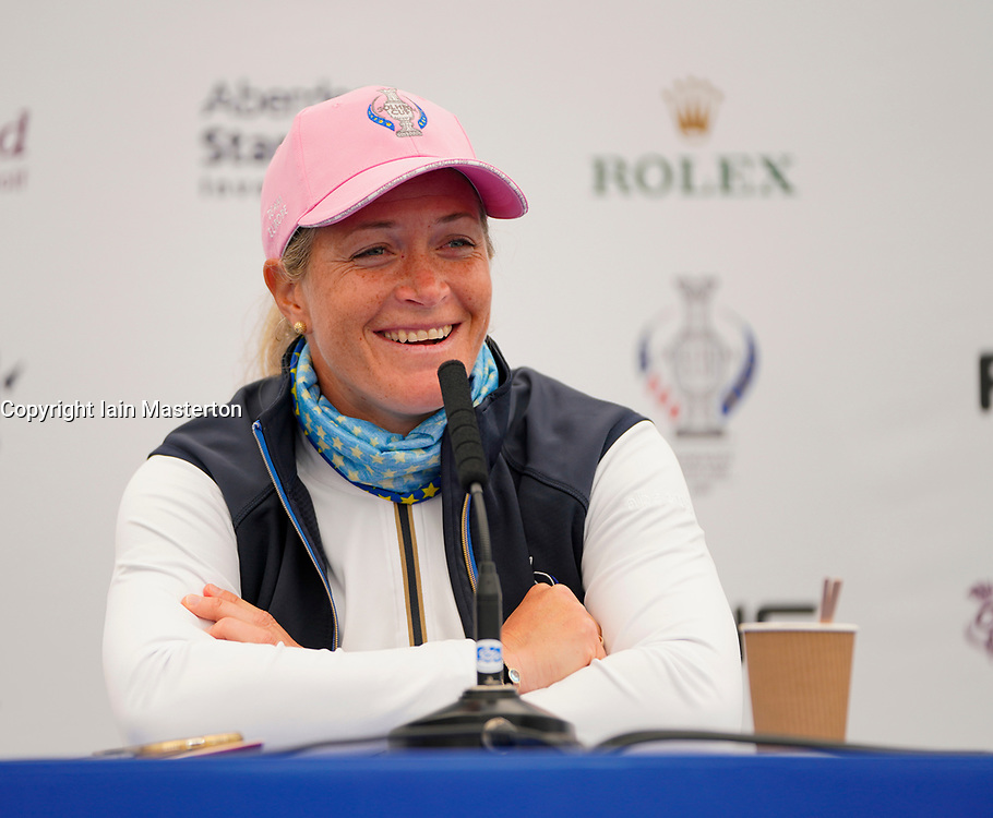 Auchterarder, Scotland, UK. 12 September 2019. Press conference with Team Europe players for the 2019 Solheim Cup. Pictured; Suzann Pettersen. Iain Masterton/Alamy Live News
