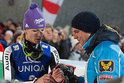 20.12.2011, Hermann Maier Piste, Flachau, AUT, FIS Weltcup Ski Alpin, Damen, Slalom Maria Hoefl-Riesch (GER) und ihr Ehemann Markus nach ihrem 2. Durchgang // Maria Hoefl-Riesch of Germany and her husband Markus after her 2nd run of Slalom at FIS Ski Alpine Worldcup at Hermann Maier Pist in Flachau, Austria on 2011/12/20. EXPA Pictures © 2011, PhotoCredit: EXPA/ Johann Groder