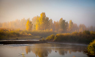 Early morning with a bit of fog on the Yampa River near Steamboat Springs, Colorado.