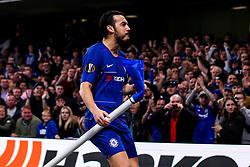 Pedro of Chelsea celebrates scoring a goal to make it 4-1 - Mandatory by-line: Robbie Stephenson/JMP - 18/04/2019 - FOOTBALL - Stamford Bridge - London, England - Chelsea v Slavia Prague - UEFA Europa League Quarter Final 2nd Leg