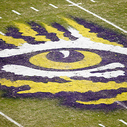 November 10, 2012; Baton Rouge, LA, USA;  The detail of the Eye of the Tiger logo on the field during the second half of a game against the Mississippi State Bulldogs at Tiger Stadium.  LSU defeated Mississippi State 37-17. Mandatory Credit: Derick E. Hingle-US PRESSWIRE