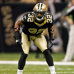 January 1, 2012; New Orleans, LA, USA; New Orleans Saints cornerback Johnny Patrick (32) against the Carolina Panthers during the second half of a game at the Mercedes-Benz Superdome. The Saints defeated the Panthers 45-17. Mandatory Credit: Derick E. Hingle-US PRESSWIRE