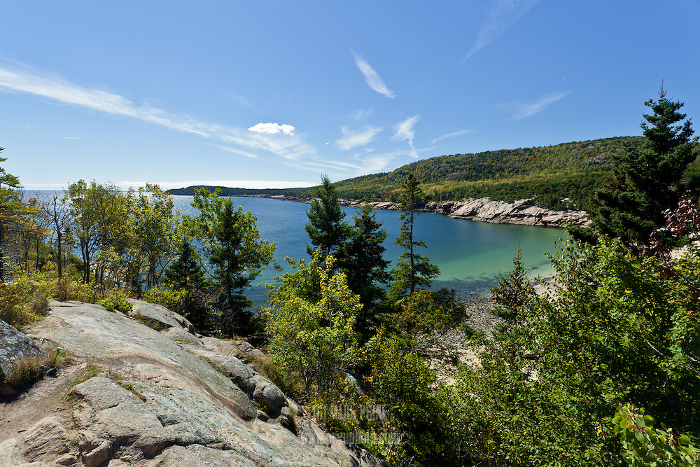 The view from an overlook above Sand Beach in Acadia National Park.