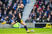 Pepe Reina (GK) (Aston Villa) kicking the ball back into play during the Premier League match between Brighton and Hove Albion and Aston Villa at the American Express Community Stadium, Brighton and Hove, England on 18 January 2020.